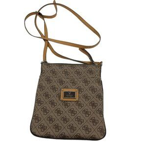 Guess G Monogram brown tan crossbody purse